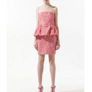 NWT ZARA Pink Strapless Lace Peplum Dress